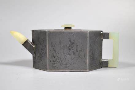 Chinese Qing Dynasty Pewter Covered Yixing Teapot