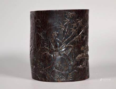 Good Chinese Carved Blackwood Brush Pot Inscribed