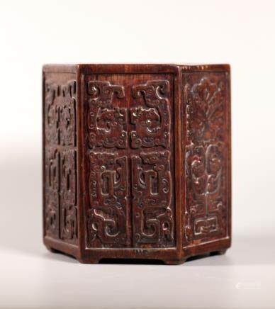 Chinese Carved Wood Hexagon Brush Pot; Lacquered