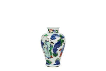 A Chinese Wu Cai Porcelain Vase With Figures