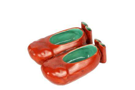 A Pair Of Chinese Iron Red Glazed Porcelain Shoes