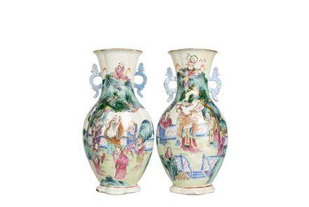 A Pair Of Famllie-Rose Porcelain Vases With Fugures
