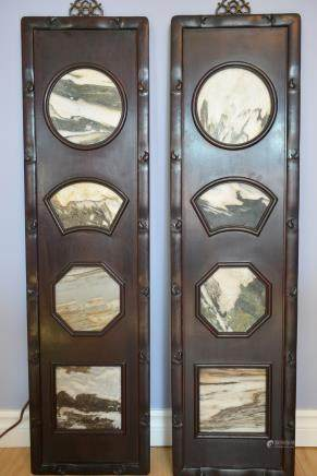 一组古董酸枝木镶嵌雲石挂屏:A group antique Rosewood mosaic Marble Hanging screen: Lot size: 106x28.5x3cm.