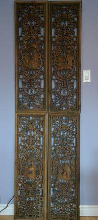 一组四条屏古董香樟木透雕挂屏:A set of four screens antique Camphor wood Openwork Hanging screen:
