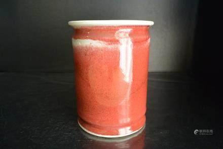 霁红釉笔筒,清康熙--Qing Kangxi Red glaze pen holder