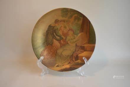 金彩描绘西洋古典妇女田园耕作图盘:Gold color Depicting Western Classical women Pastoral farming Figure Plate: Lot size: diameter 26.7cm.