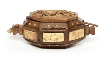 清 黃揚木鑲骨盒