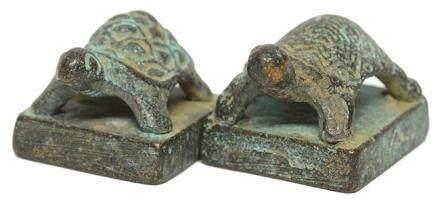 銅龜紐方形印章二件