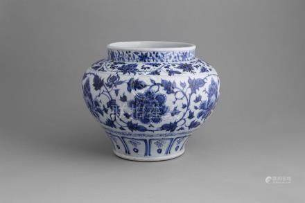 A RARE BLUE AND WHITE PEONY JAR, 'Guan' mid 14th century, the squat baluster shaped body painted