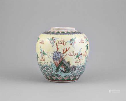 A FAMILLE VERTE YELLOW GROUND GINGER JAR,Qing Dynasty (1644 - 1911), of ovoid shape, theshoulder