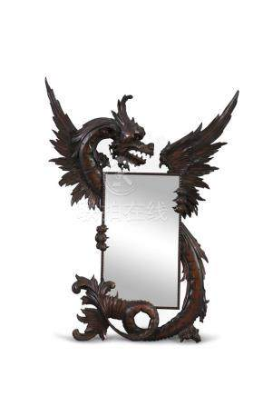 A LATE 19TH CENTURY CARVED HARDWOOD 'DRAGON' MIRROR, modelled in the Chinese taste, attributed to