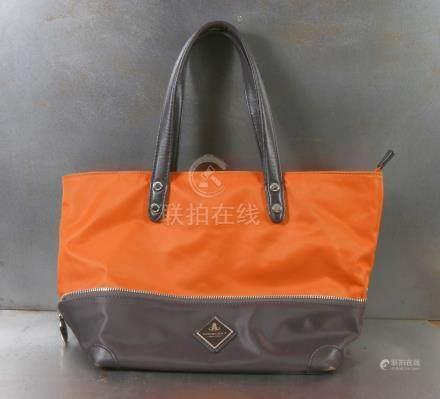 Pourchet sac à main en toile, anses en cuir.Maroquinerie.
