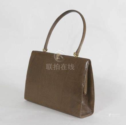 sac à main en cuir imitation lézard marron, 19x25 cm.vintage.