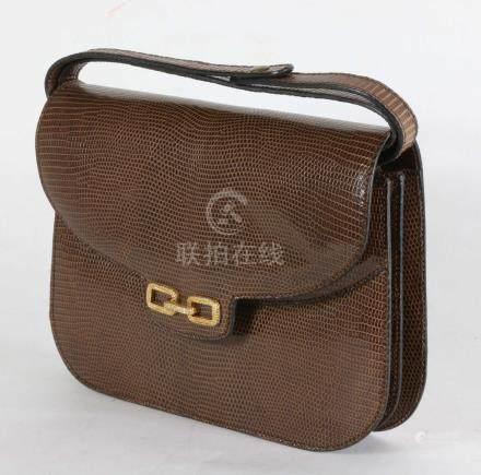 sac à main en cuir imitation lézard marron, 19x25 cm.