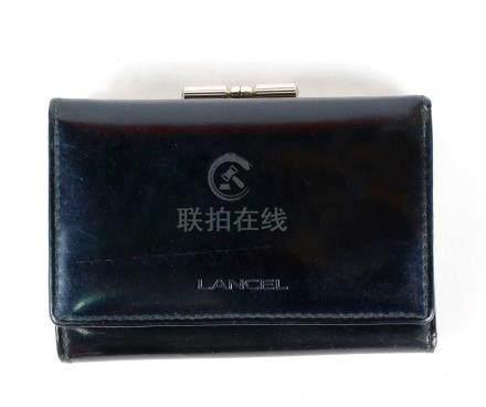Lancel, porte-monnaie et porte-carte en cuir noir.maroquinerie.
