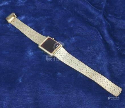 OMEGA, Montre de femme à quartz en métal doré,n°6002, led 7100, ( 24.12.1976)- notice et cer