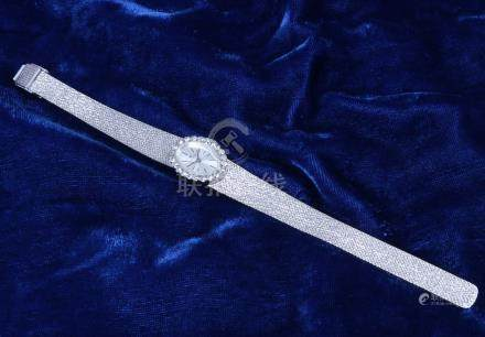 ELECTRA, Montre de femme, entourage de strass, bracelet en métal en métal blanc.