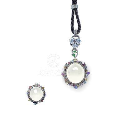 A SUITE OF GLASSY JADEITE AND GEM PENDANT NECKLACE AND