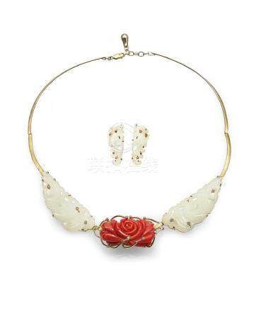 A WHITE JADE 'PHOENIX' PENDANT AND CORAL 'FLOWER' WITH