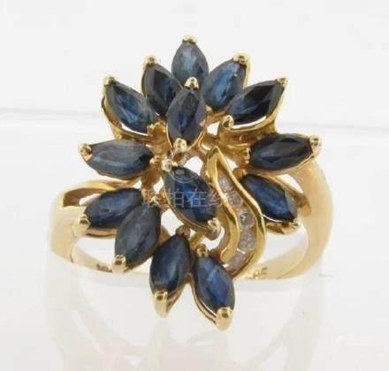 Beautiful Vintage 14k Gold Sapphires & Diamonds