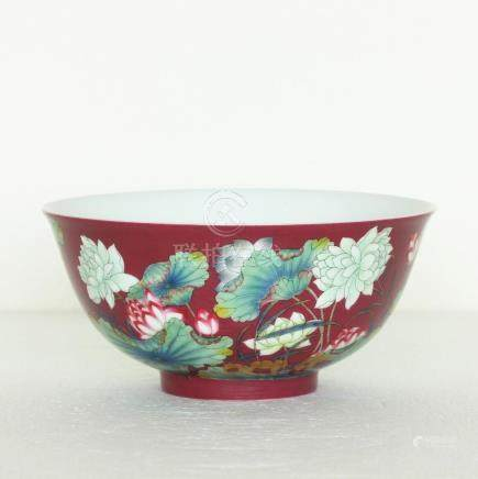 Chinese red & famille rose porcelain bowl Qing Dynasty