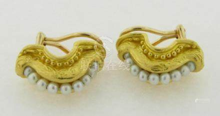 Pair Of Designer Denise Roberge 22k Yellow Gold and