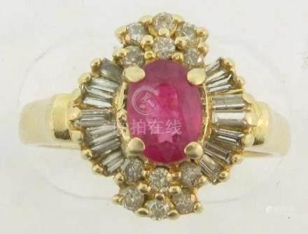 Beautiful Gem Ruby 32 Diamonds Marked 14k Designer Ring