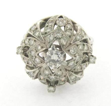 Beautiful Vintage Diamonds Platinum Designer Ring 1-1/2