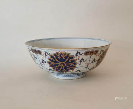 Chinese Famille Rose B/W Porcelain Bowl