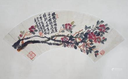 Chinese Fan Painting,Wu Changshuo(1844-1927)