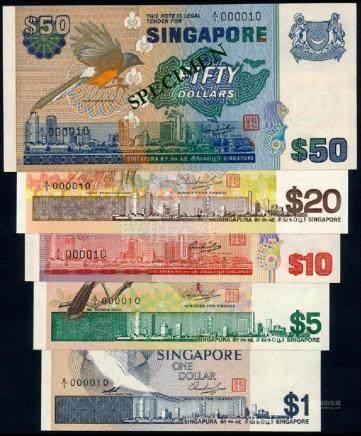 Singapore $1-$50 1976-79 bird all A/1 000010