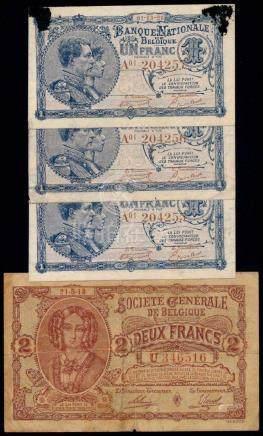 4 Belgium 1-2 Francs 1918-20