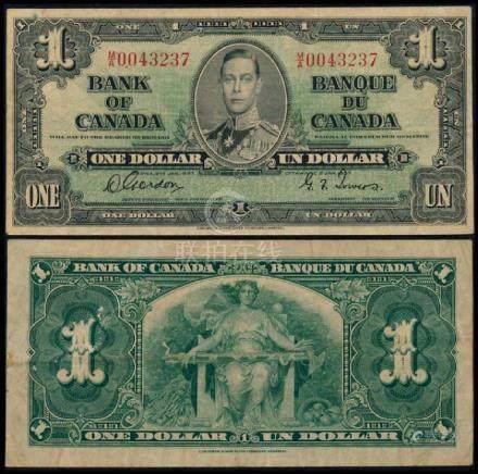 Canada $1 1937 KGVI VF