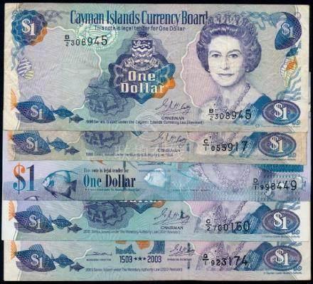 Cayman 5x$1 1996-2010