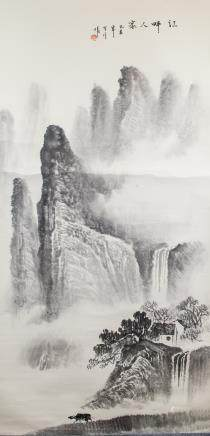 GU YUE Chinese Ink Landscape on Paper Scroll