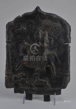 Bronze plaque. India. 17th century. Cast and chase with