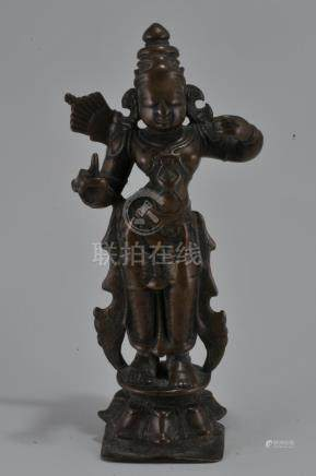Bronze Deity. India. 15th century. Standing image of