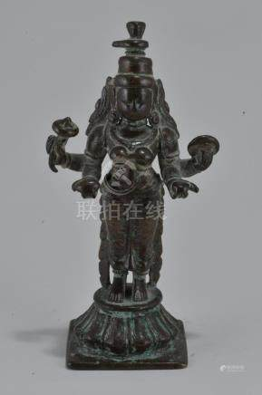 Bronze Deity. India. 16th century. Standing figure of