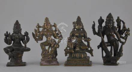 Four bronze images. India. 19th century or earlier.