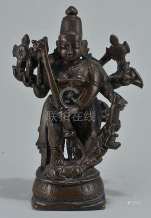"High copper content Deity. India. 17th century. 5-3/4"""