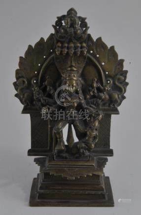 Bronze Altar piece. India. 17th century. Enthroned