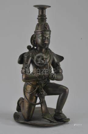 Bronze incense stand. India. 17th century. Kneeling