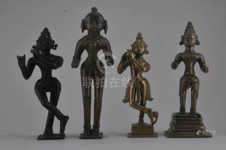 Lot of four bronzes. India. 19th century and earlier.