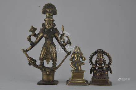Lot of three bronzes. India. 17th century and earlier.