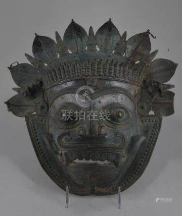 Bronze mask. India. 17th century. Tiger form. Fine