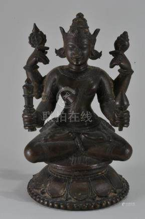 Bronze image. India. 17th century. Enthroned figure of
