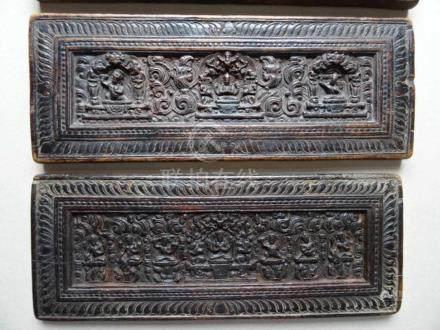 Asiatica.-Holz-Relief von Buddha u.a. 3 Holzplatten. Um 1900 (?). Je ca. 14 x 38 cm,