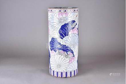 A modern Chinese porcelain stick stand, with carp and lily pad design, 47 cm high x 21 cm diameter
