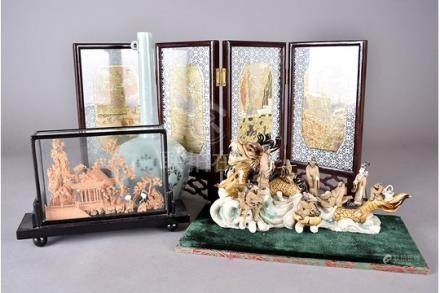 A collection of modern Asian works of art, including a Chinese table screen, Chinese tomb figure,