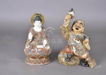 A late 19th Century Asian stoneware figure of seated deity, upon lotus leaf, heightened in gilt with